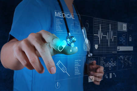 modern doctor: Medicine doctor working with modern computer interface Stock Photo