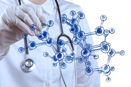 research study: scientist doctor hand draws virtual molecular structure in the lab Stock Photo