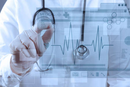 ekg: Medicine doctor working with modern computer interface Stock Photo
