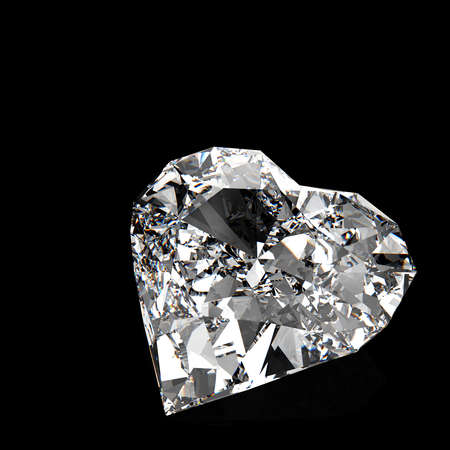 diamond heart shape on black or white surface Stock Photo - 17543098