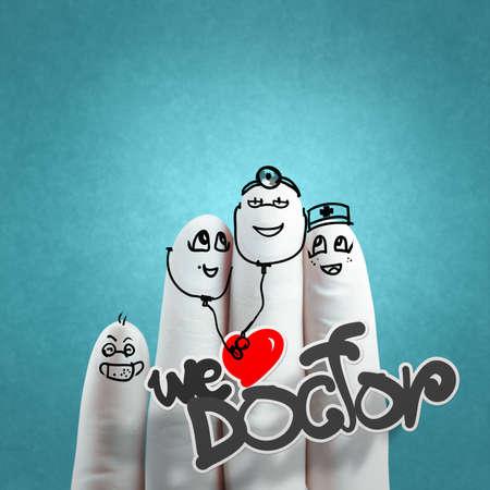 medico caricatura: Una mano adorable familia dibujada y dedo, médico y enfermera, nos encanta concepto médico