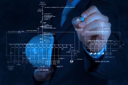 single line: engineer draws an electronic single line schematic diagram