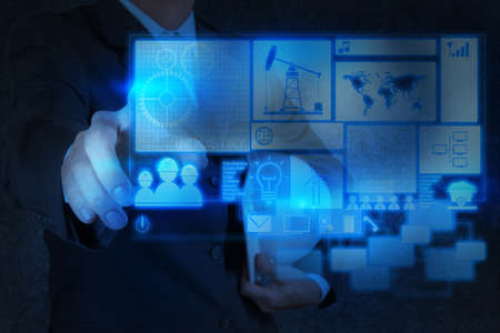 gas tank: engineer business hand working with new technology as industry concept Stock Photo