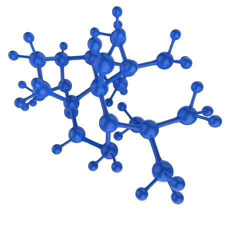 Molecule blue 3d on white background photo