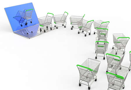 Online shopping concept 3d on white background Stock Photo - 17621187