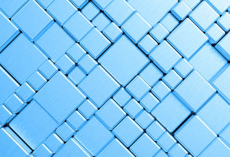 Steel blue cube mesh metal plate background or texture photo