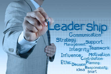 influence: businessman writing leadership skill diagram on virtual board Stock Photo