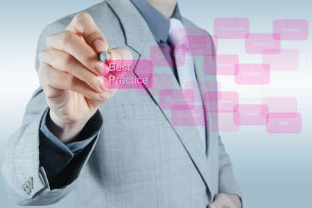 businessman hand shows best practice word on virtual screen as concept photo