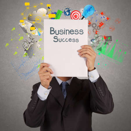 businessman hand show book of success business as concept photo