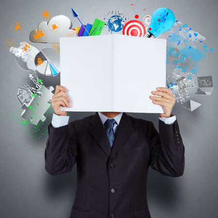 businessman hand show book of success business as concept