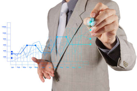 business competition: businessman hand working with new modern computer and business strategy as concept Stock Photo