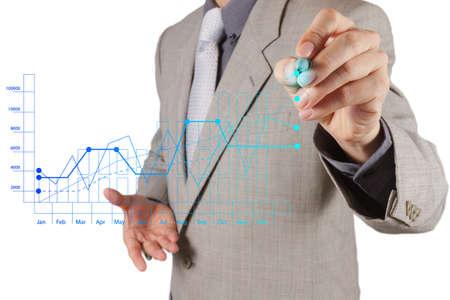 main homme d'affaires travaillant avec un ordinateur moderne, neuf et stratégie de l'entreprise en tant que concept