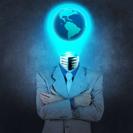 businessman with lamp-head as concept photo