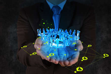 businessman working with new modern computer show social network structure Stock Photo - 18237556