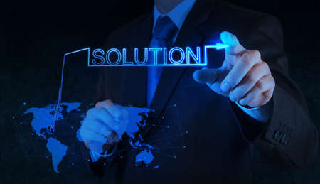 businessman hand pushing solution graph on a touch screen interface Stock Photo - 18242561