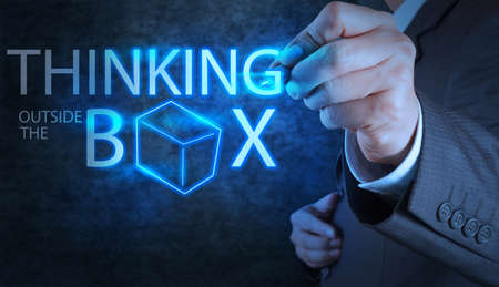 businessman hand draw thinking outside the box as concept Stock Photo - 18237584
