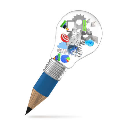 project management: creative design business as pencil lightbulb 3d as business design concept