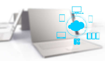 cloud computer: a Cloud Computing diagram on the new computer interface as concept