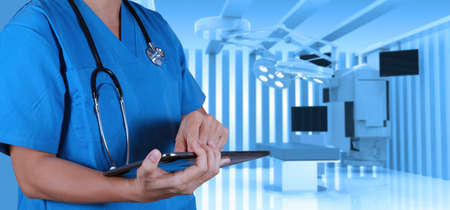 success smart medical doctor with operating room. photo