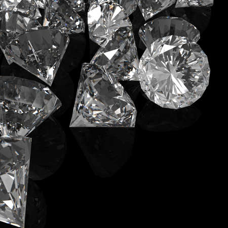 Diamonds isolated on black surface 3d model photo