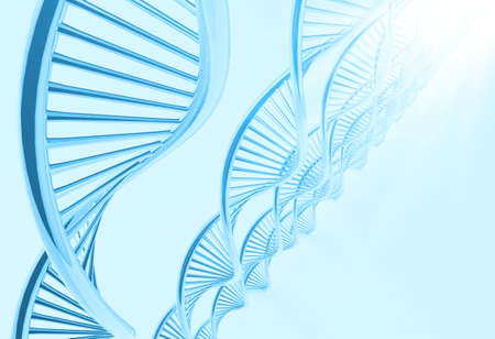 raytrace: a dna in medical colour background