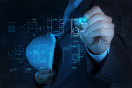 fittings: engineer drawing main hole sanitary diagram on virtual board Stock Photo