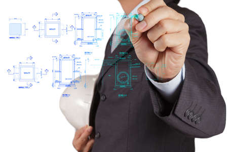 gas distribution: engineer drawing main hole sanitary diagram on virtual board Stock Photo