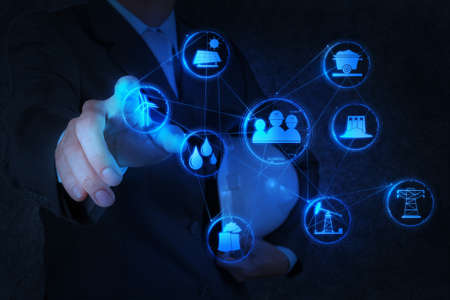 engineer works industry diagram on virtual computer as concept Stock Photo - 18237430