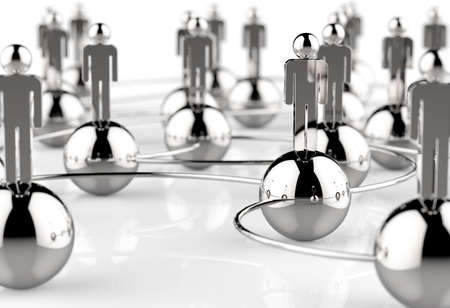 3d stainless human social network as concept Stock Photo