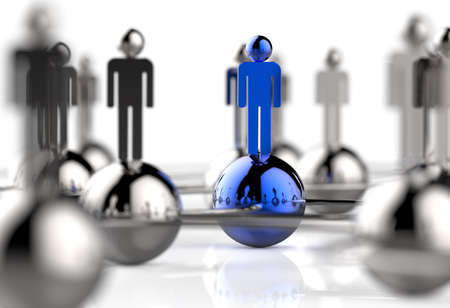 human resources: 3d stainless human social network as concept Stock Photo