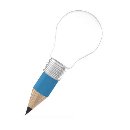 edison: blank 3d creative pencil lightbulb as concept creative and add your word