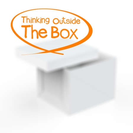 thinking outside the box as concept photo