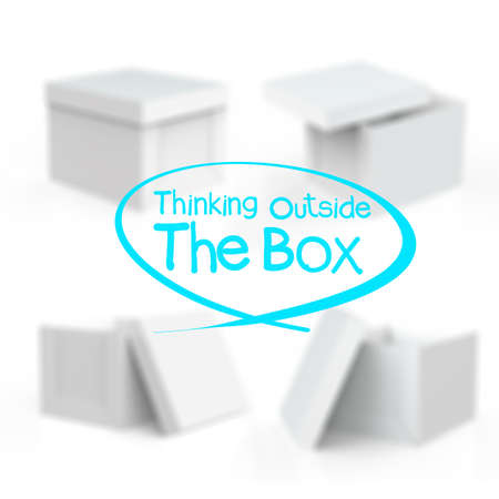 thinking outside the box and blank boxes on white background
