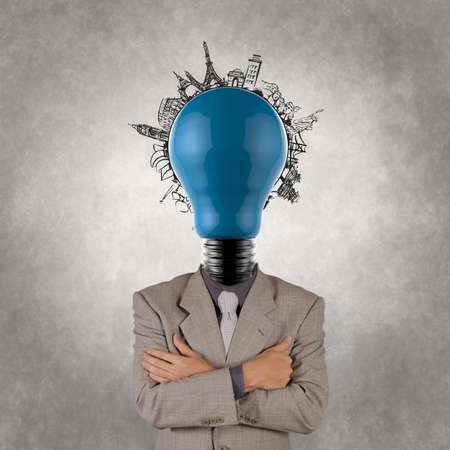 businessman and light bulb head and traveling around the world as concept Stock Photo - 18988634