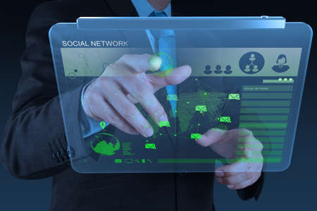 businessman working with new modern computer show social network structure as concept Stock Photo - 18988443