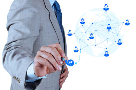 businessman working with new modern computer show service network structure as concept Stock Photo - 18988454