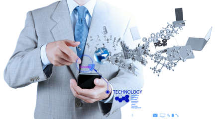 mobile communication: businessman using mobile phone shows internet and social network as concept