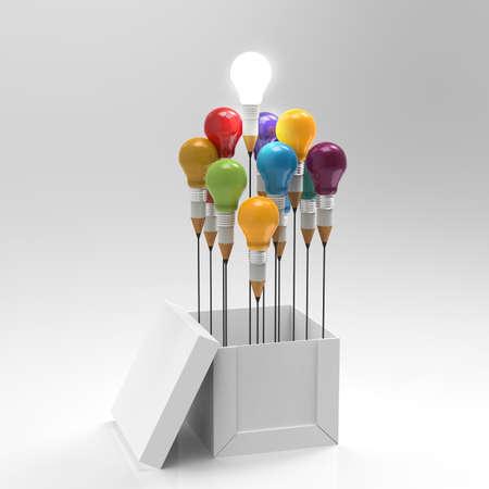 pensamiento creativo: dibujo idea l�piz y concepto de la bombilla fuera de la caja como concepto creativo y de liderazgo Foto de archivo