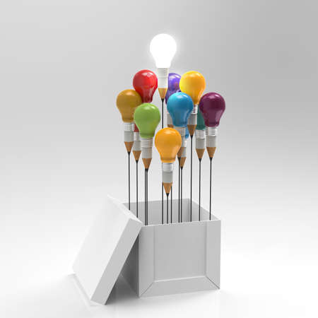 solutions: drawing idea pencil and light bulb concept outside the box as creative and leadership concept