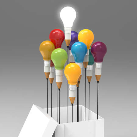 electric light: drawing idea pencil and light bulb concept outside the box as creative and leadership concept
