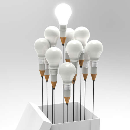 pencil box: drawing idea pencil and light bulb concept outside the box as creative and leadership concept