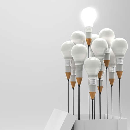 best ideas: drawing idea pencil and light bulb concept outside the box as creative and leadership concept