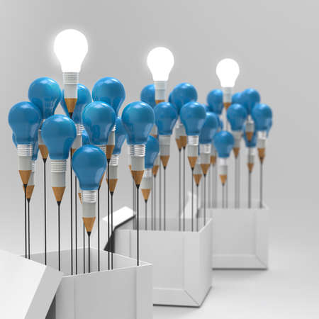 best idea: drawing idea pencil and light bulb concept think outside the box as creative and leadership concept Stock Photo