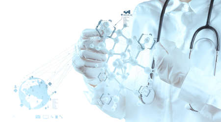 molecular structure: scientist doctor hand touch virtual molecular structure in the lab as medical concept Stock Photo