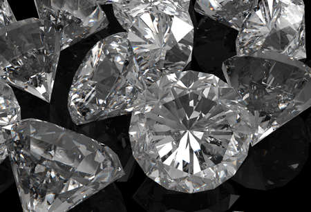 diamonds 3d on black surface Stock Photo - 18989119