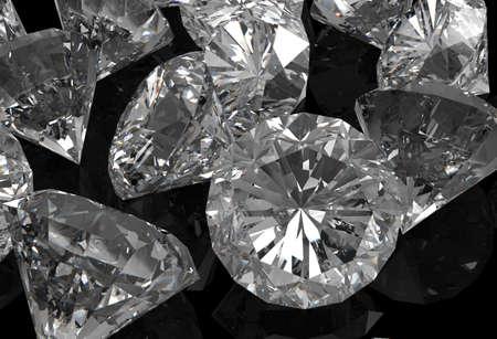 diamonds 3d on black surface Stock Photo - 18989119