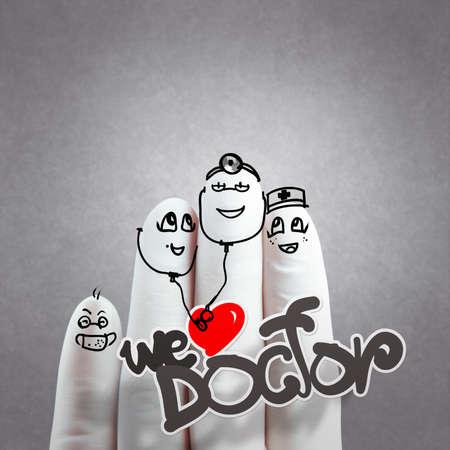 medico caricatura: Una mano adorable familia dibujada y dedo, m�dico y enfermera, nos encanta concepto m�dico de textura de fondo Foto de archivo