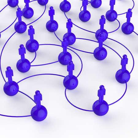 net meeting: 3d blue human social network as concept