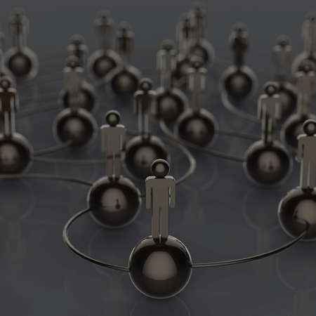 3d stainless black  human social network and leadership as concept photo