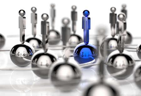 personas comunicandose: 3d inoxidable humana red social y el liderazgo como concepto
